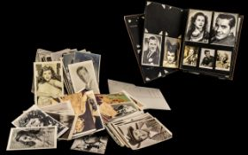 Film Star Photographs + Photo Album with Some Stuck Into, Mainly Postcard Size and 1940's / 1950's.