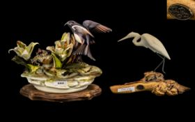 Porcelain Bird Group with Chicks on a Nest, Amongst Flowers, Signed to the Base,