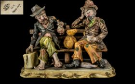 Capodimonte Group of Two Tramps - Drinking Sitting on a Bench.
