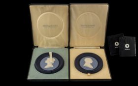 Pair of Wedgwood Three Colour Portrait Medallions, The Queen No. 1026 of 2000 Silver Jubilee 1952-