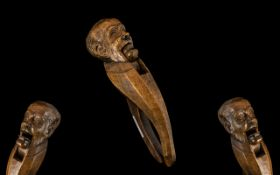 Black Forest Interest. Large Carved Figural Nutcracker in the form of a gentleman of typical