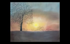 Wall Art Unframed Modern Print on Canvas - by an Iranian artist. Sunset scenery.
