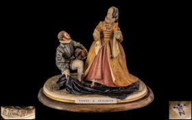 Large Capodimonte Group of Raleigh and Elizabeth, Signed by the Artist B.