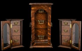 Victorian Period - Twin Handle Rectangular Shaped Shop Display Oak Cabinet For Cigars ( Table Top )