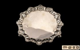 Victorian Period Sterling Silver Footed Card Tray of Small Proportions with Elaborate Shaped Shell