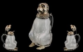 A 20th Century - Novelty Silver Plated and Milk Glass Claret Jug,