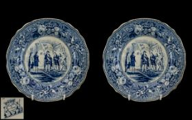 Jones and Son Staffordshire Scarce Pair of Very Fine Quality Blue and White Printed Plates.