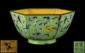 Chinese Antique Hexagonal Shaped Canton Enamel Bowl of Extremely Fine Quality Painting,