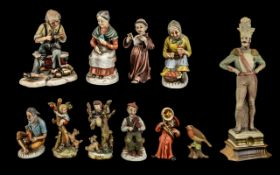 A Collection of Capodimonte Ornaments including an elderly lady picking carrots,
