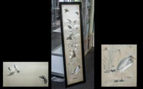 A Large Antique Chinese Silk Embroided Panel Depicting a Stork Amongst Lily Pads and Poppy's,