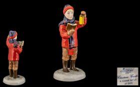 Coalport - Ltd Edition Hand Painted Porcelain Figure ' Christmas Caroler ' Modeller John Bromley.