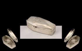 Novelty Silver Pill Box In the Shape of a Coffin.