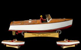 Model Boat marked Vintage Model boat company 'Sea Breeze' on plinth. Measures 24 inches.