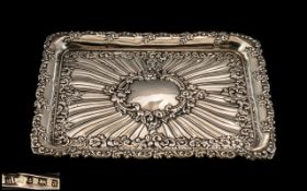 Late Victorian Period Nice Quality Ornate / Fancy Silver Embossed and Highly Decorative Small Tray
