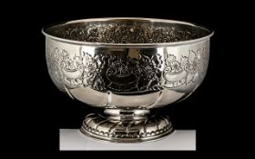 Large Antique Silver Plate Punch Bowl, Great Quality and Design, Better than Usual,