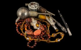 Good Assortment of Collectibles, comprising: Silver handled small axe, hallmarked; Amber cheroot;
