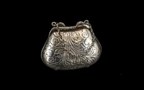 Novelty Silver Pill Box In the Form of a Ladies Hand Bag, Wonderful Condition and Decoration,