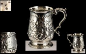 George III Silver Tankard with Embossed Decoration to Body ( Embossed In a Later Period ) Hallmark
