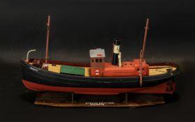Model Boat Magpie Steam Drifter on plint