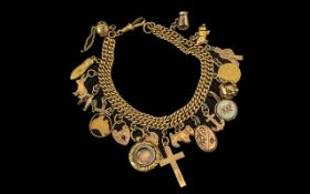 Antique 9ct Gold Double Curb Bracelet Lo