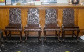 Set Of Four Chinese Hardwood Chairs, Of