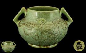Crown Ducal Art Pottery Celadon Incised