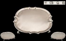 Art Deco Period - Pleasing Sterling Silver Footed Tray - Salver of Square Form with Shaped Border.