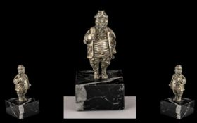 Solid Silver Gentleman on Marble Base, Wonderful Detail and Quality Marked Rubbed, But Tests for