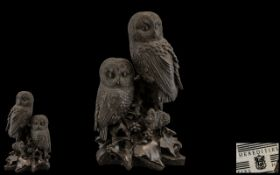 Heredites Modern Sculpture D109 Pair Of Owls,