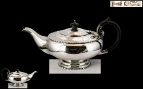 Walker and Hall - Superb Alladins Lamp Shaped Sterling Silver Teapot of Pleasing Design / Form.