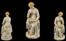 A Fine Quality 19th Century Porcelain Figurine Depicting a Young Woman Wearing a Long Flowing Dress,