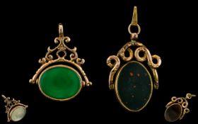 Edwardian Period Large / Impressive 9ct Gold Stone Set Swivel Fob,