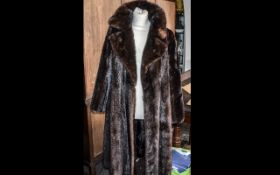 Beautiful Full Length Mink Coat in rich brown colour, made by Revillon of Paris & New York.
