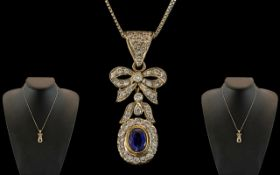 Antique Period 18ct White Gold - Attractive and Superb Quality Sapphire and Diamond Set Ribbon