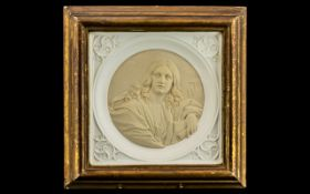 French Antique Plaster Cast Gothic Style Tile depicting a Lady Saint. Framed and glazed.