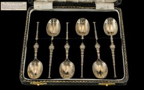 A Fine Set of Six Sterling Silver English Replica Coronation Anointing Spoons.
