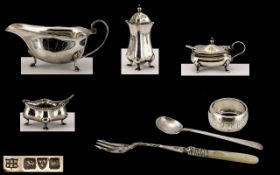 A Collection of Early 1920's Sterling Silver Items ( 7 ) Items In Total.