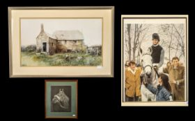 Jockey Print by Paul Hart. Size 27 x 21 Inches with a Drawing of a Horses Head, Signed T. Coulter.