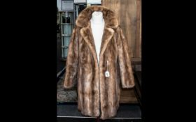 Golden Brown Vintage Mink 3/4 Jacket, with half belt at rear, two slit pockets, collar and revere,