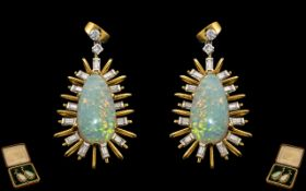 A Superb Pair of Star-burst Design 18ct Gold Opal and Diamond Set Pair of Earrings of Large and