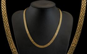 9ct Gold - Superb Quality Fancy Chain Necklace. Marked for 9ct Italy.