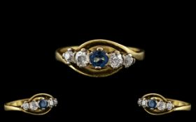 18ct Gold - Attractive 5 Stone Sapphire and Diamond Ring, Full Hallmark for 18ct.