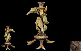 Rare German Antique Porcelain Stags Horn Candlestick Centrepiece with a Bird Attached Amongst Hazel