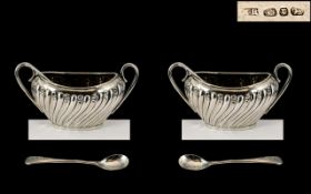Victorian Period Pair of Sterling Silver Salts with Silver Spoons ( 2 ) Excellent Design and