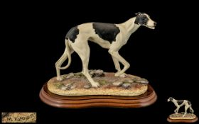 Border Fine Arts B0348B Hand Painted Sculpture / Figure ' Greyhound ' Black and White. Sculpture M.