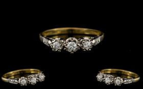 18ct Gold - Attractive 3 Stone Diamond Set Ring - Illusion Set. The Brilliant Cut Diamonds of Good