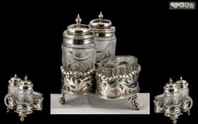 Goldsmiths and Silversmiths Company Superb Sterling Silver 3 Piece Cruet Set and Stand.