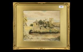 Original Watercolour of Cartmel Priory, mounted and framed behind glass in decorative gilt frame.
