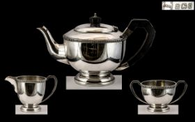 Sterling Silver 3 Piece Tea Service of Solid Gauge and Pleasing Proportions.