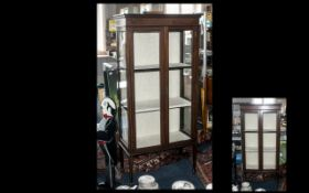 Small Edwardian Inlaid Mahogany Double Door Display Cabinet, with Two Interior Shelves,